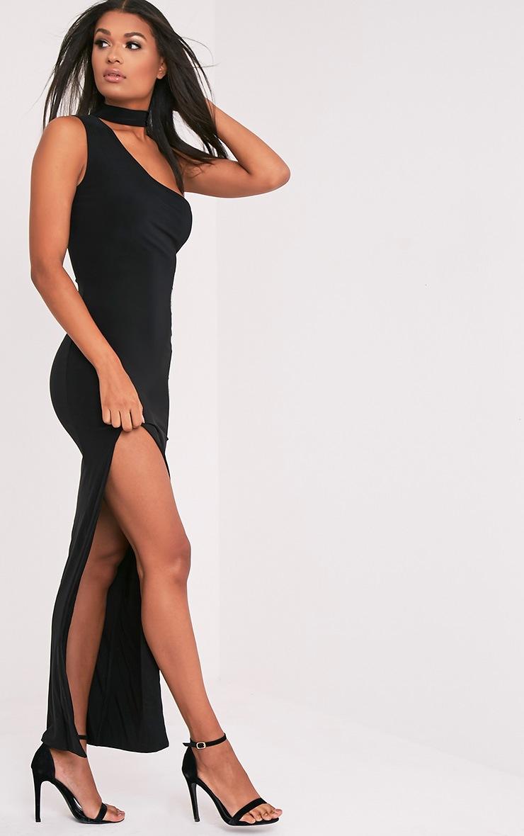 Jiya Black Slinky Choker Neck Maxi Dress 4