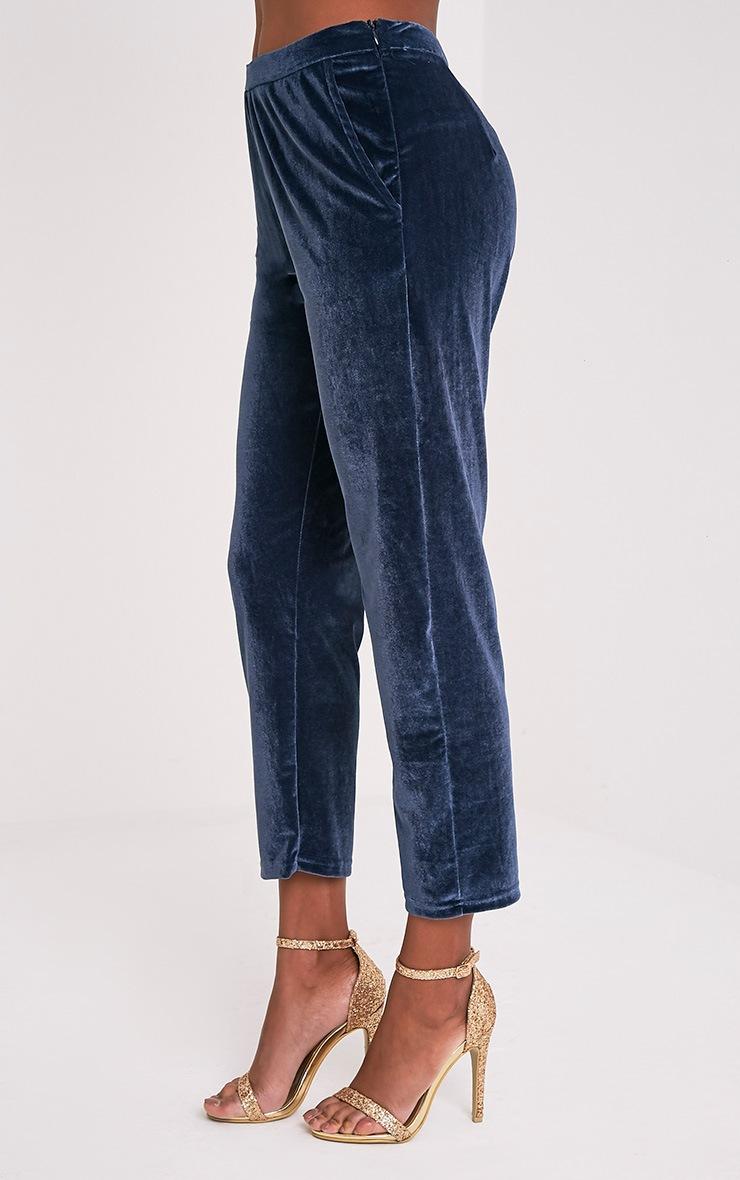 Tasmine pantalon cigarette bleu en velours 6