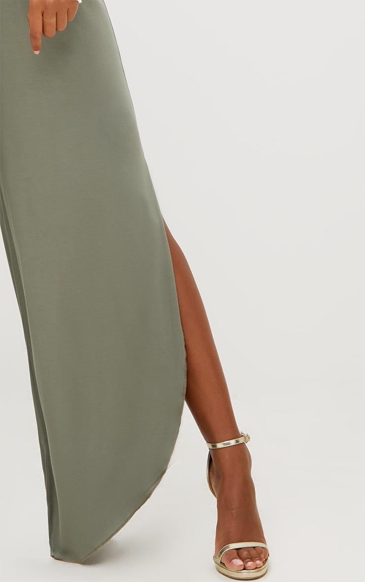 Khaki Jersey Side Split Wide Leg Joggers 4