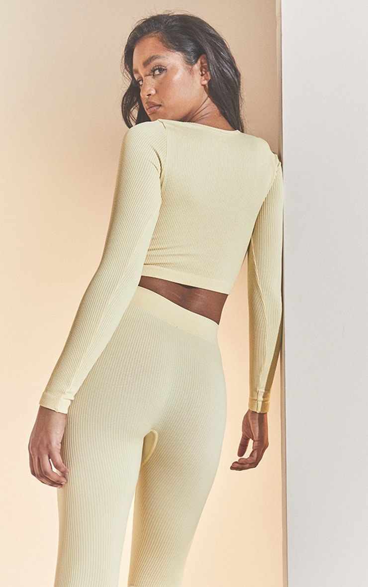 Cream Structured Contour Ribbed Round Neck Long Sleeve Crop Top 2