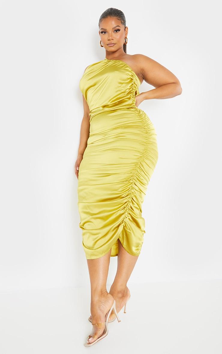 Plus Chartreuse Satin One Shoulder Midi Dress 1