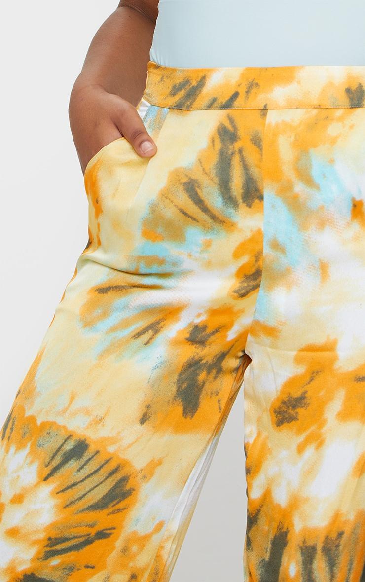 Orange Tie Dye Wide Leg Trousers 4