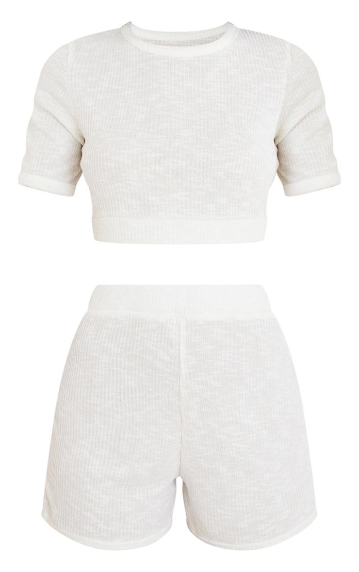 Ensemble de pyjama en maille côtelée douce crème à tee-shirt court et short 5