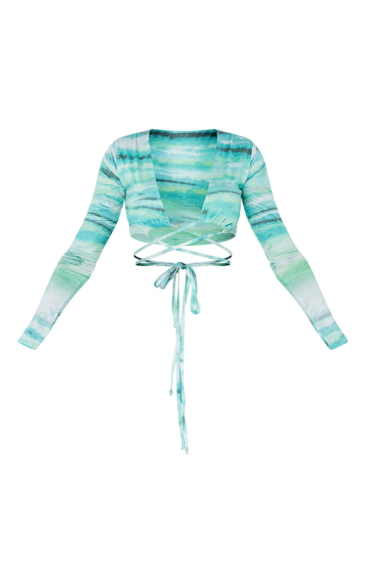 Blue Abstract Stripe Print Soft Touch Tie Wrap Around Long Sleeve Crop Top 5