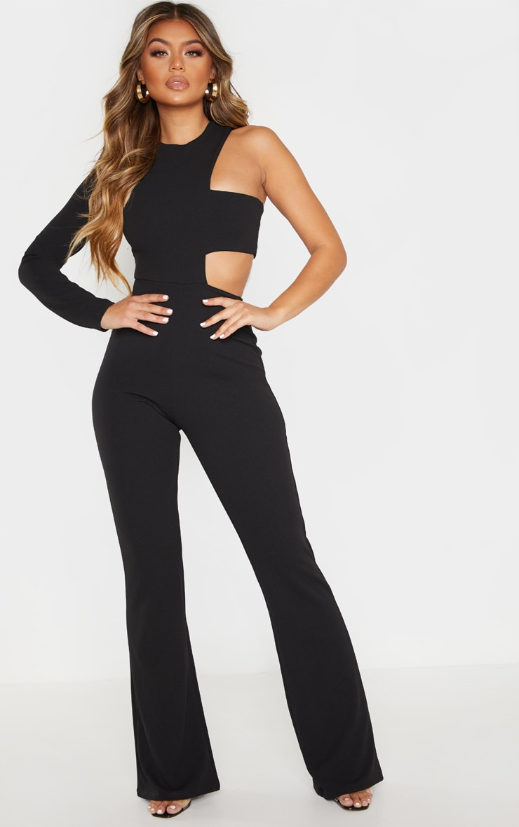 Black One Shoulder Flare Leg Jumpsuit 1