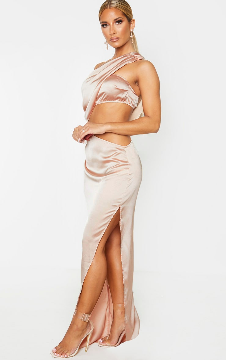 Champagne One Shoulder Cut Out Satin Maxi Dress 4
