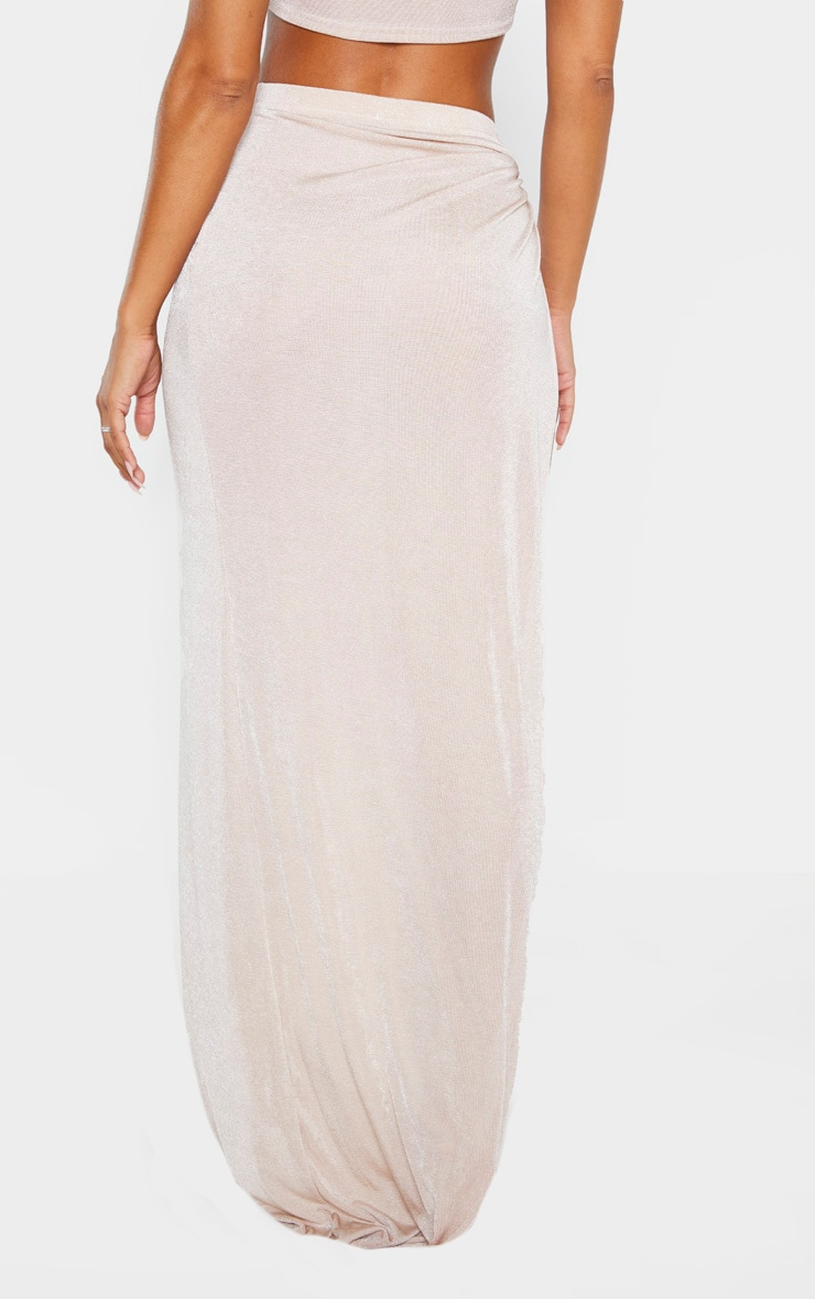 Champagne Slinky Ring Detail Extreme Split Maxi Skirt 4