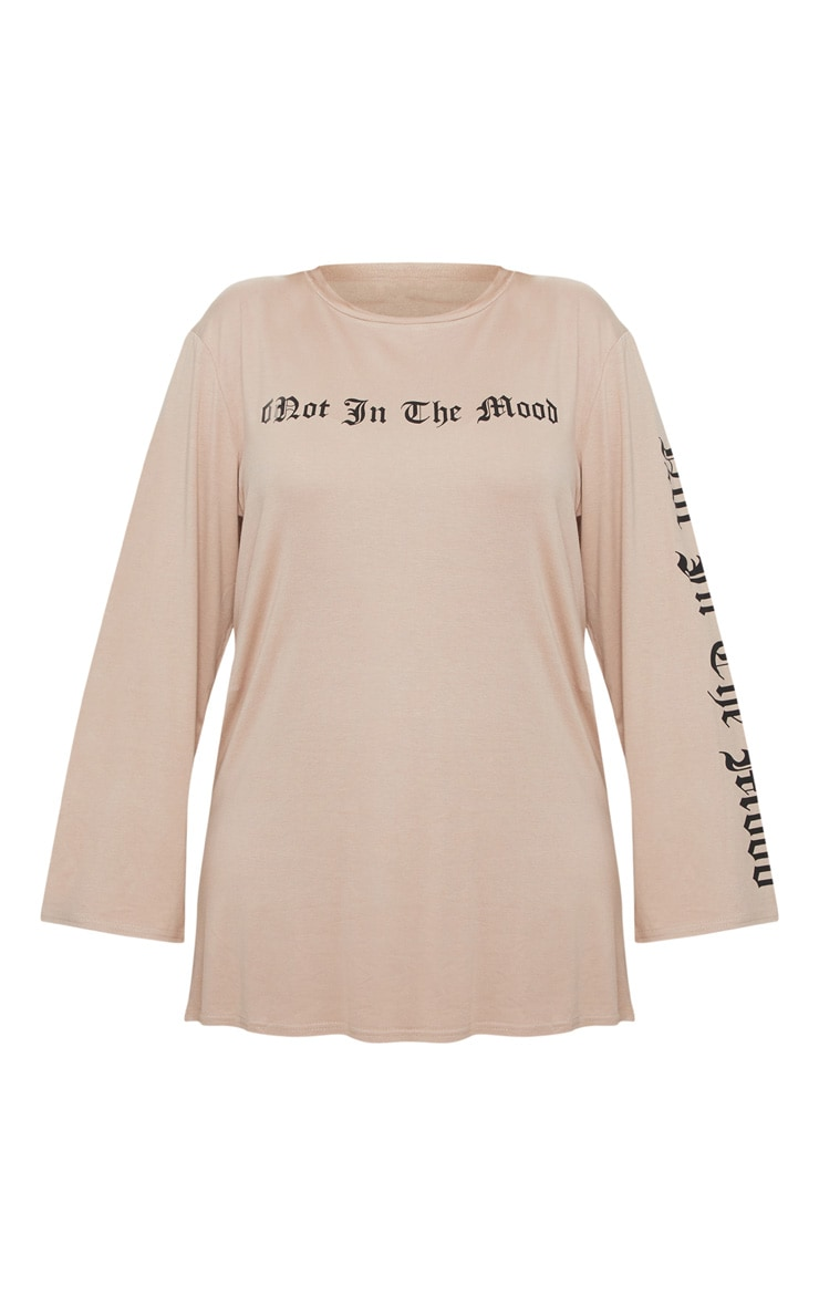 Plus Stone Oversized Slogan T-Shirt Dress 3