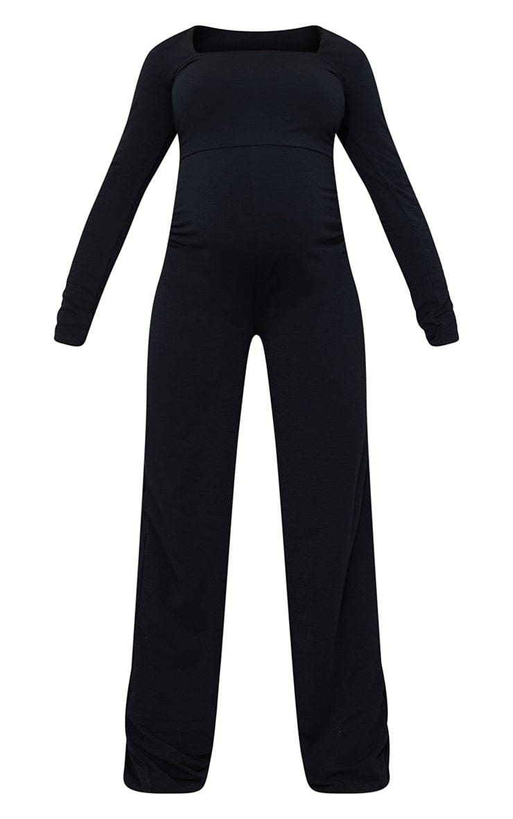 Recycled Maternity Black Contour Jersey Square Neck Jumpsuit 5