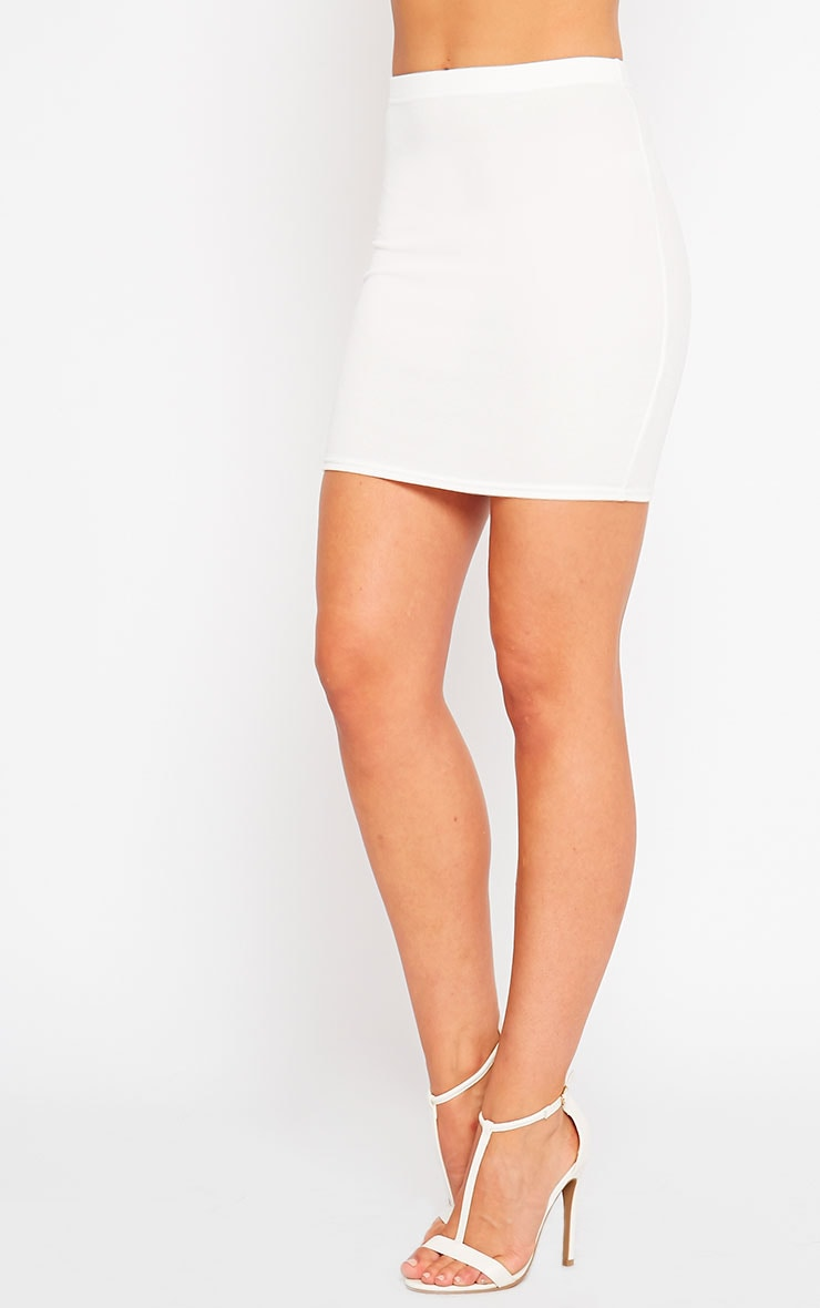 Emilia Cream Crepe Mini Skirt 3