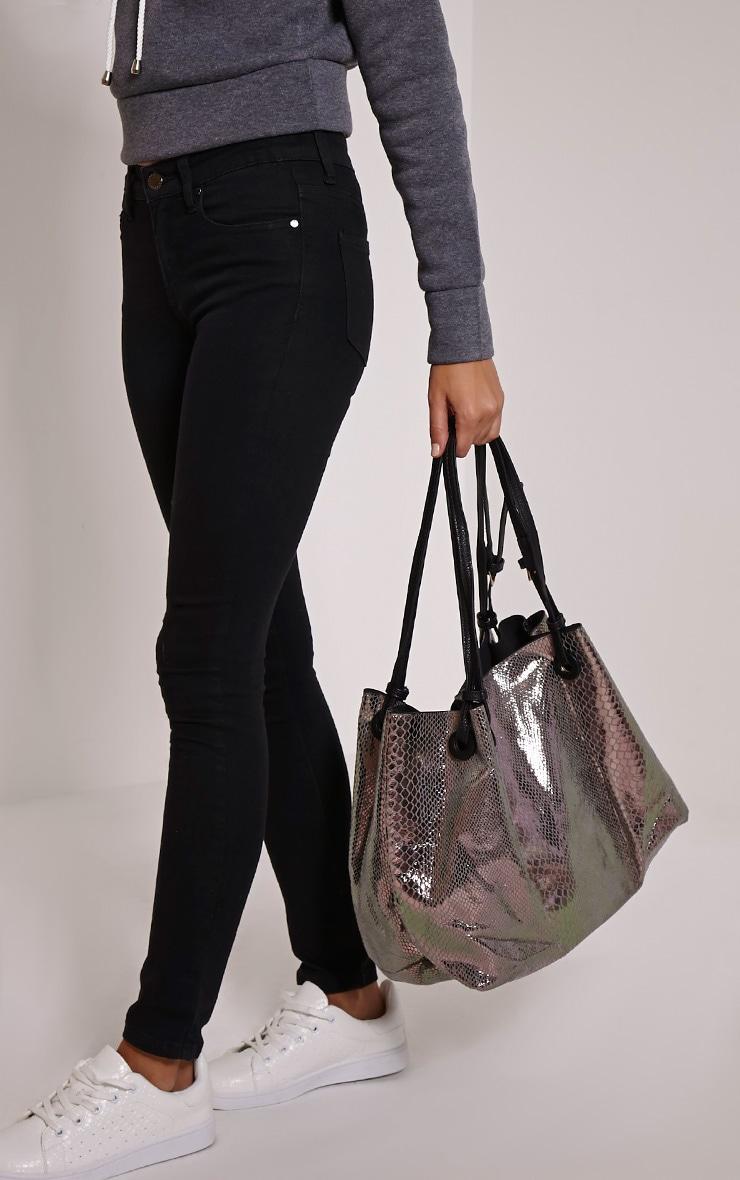 Ashlia Silver Multi Metallic Snake Print Bucket Bag 1