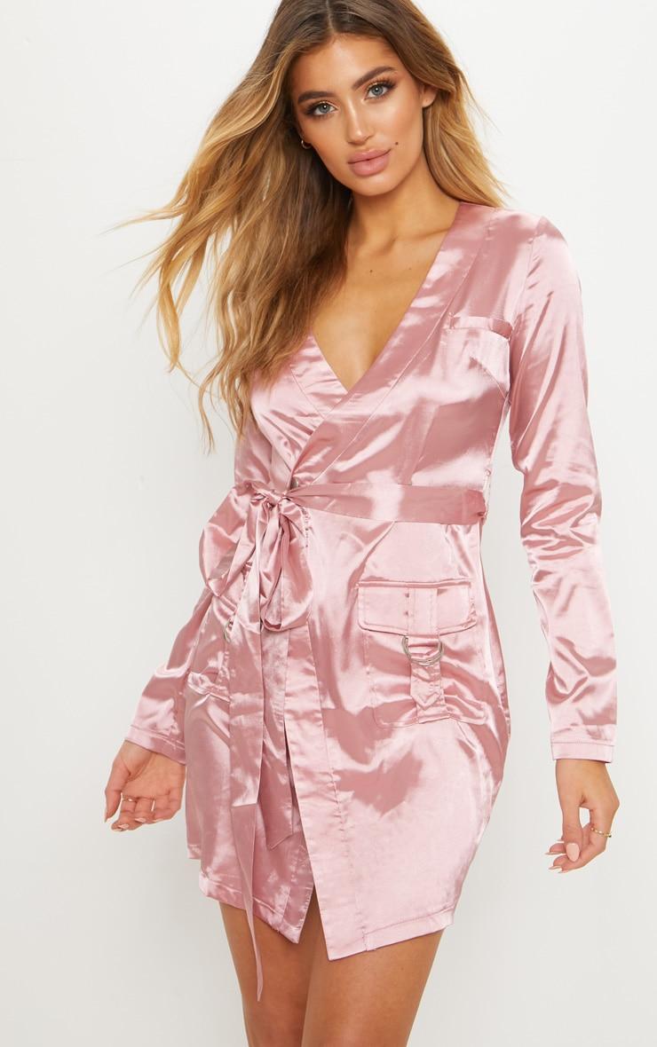 Rose Satin Utility Long Sleeve Bodycon Dress 1