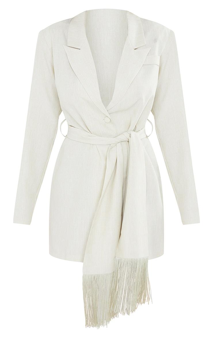 Sage Green Linen Tassel Detail Tie Waist Blazer Dress 5