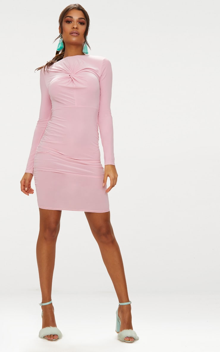 Baby Pink Long Sleeve Knot Front Midi Dress 5