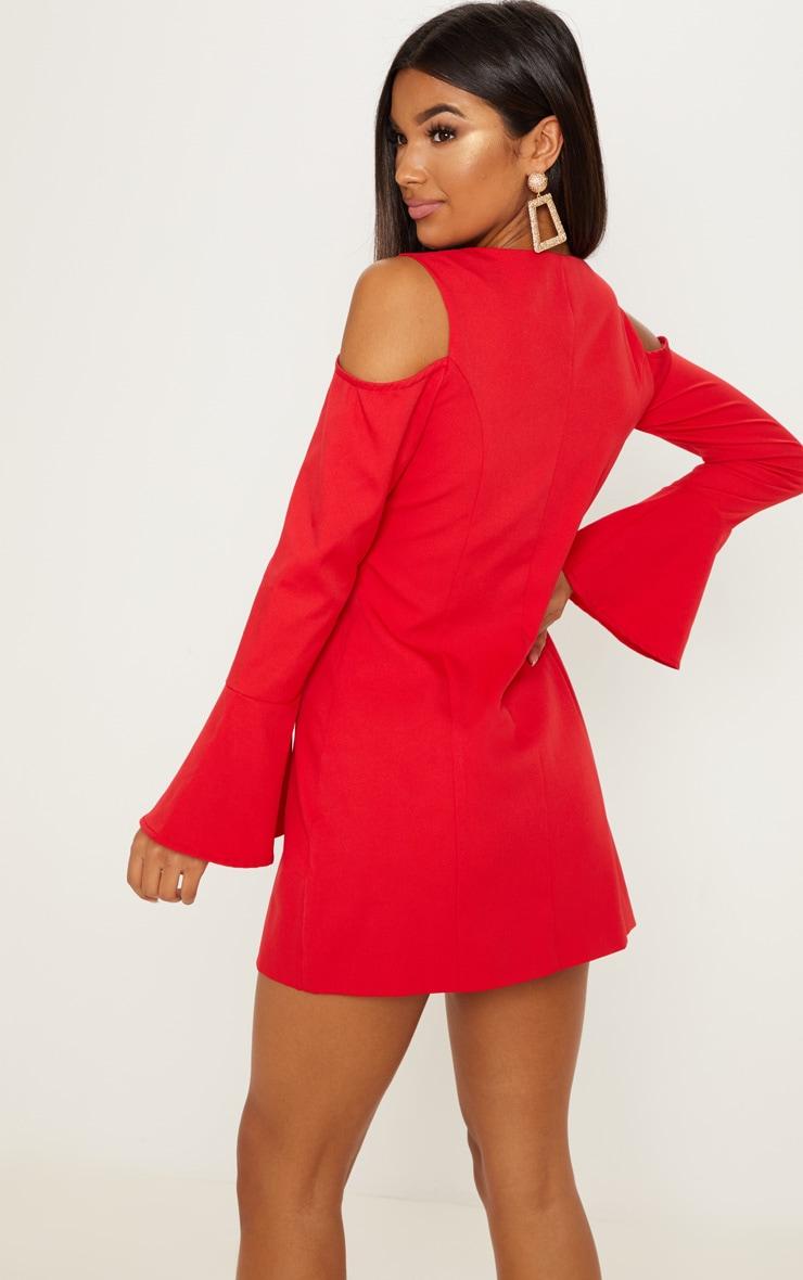 Red Button Detail Cold Shoulder Shift Dress 2