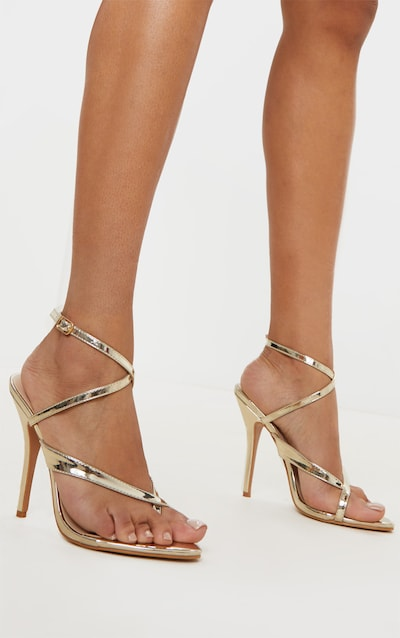 Gold Patent Low Heel Toe Thong Ankle Strap Sandal