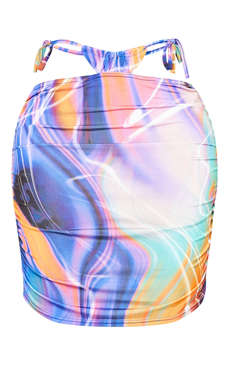 Shape Purple Marble Print Slinky Ruched Tie Side Bodycon Skirt 6