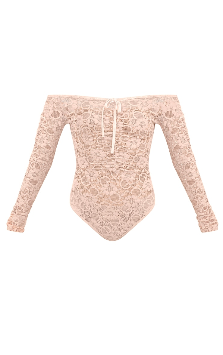 Petite Nude Lace Ruched Sleeve Bodysuit 3