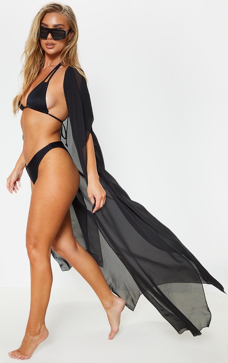 Black Sleeveless Maxi Beach Kimono 4