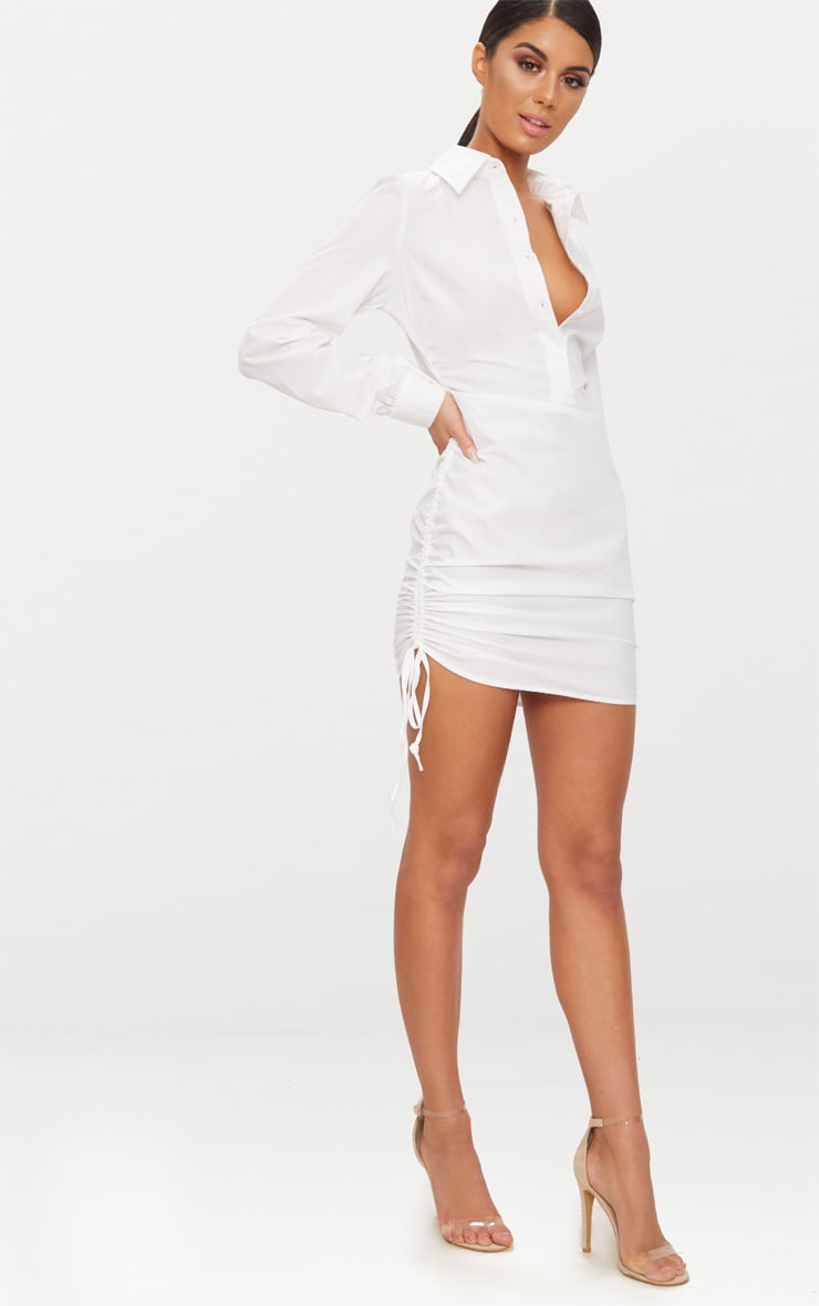 Ruched Side Fitted Shirt Dress image 4