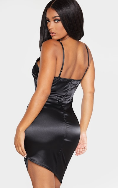 Shape Black Satin Ruched Side Plunge Bodycon Dress