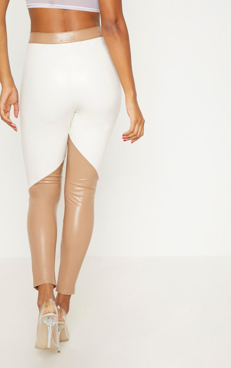 Taupe Faux Leather Colour Block Trouser 4