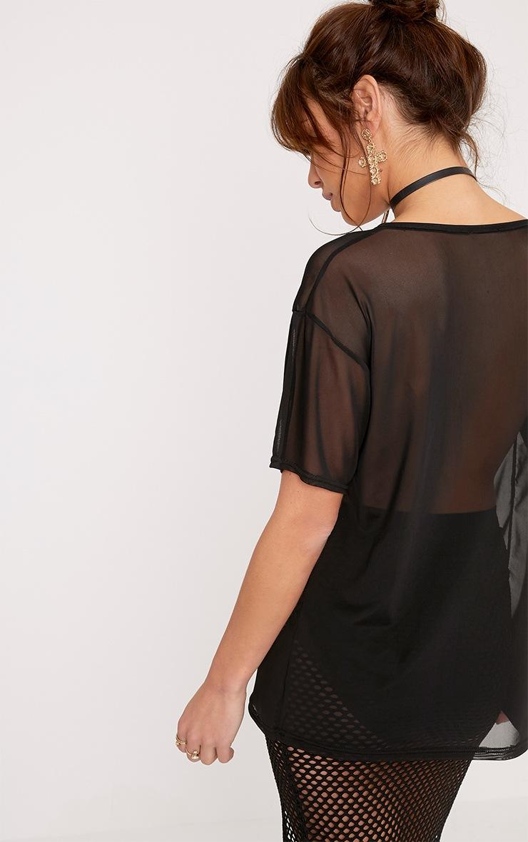 Sabrina Black Mesh Floral Applique T Shirt 2