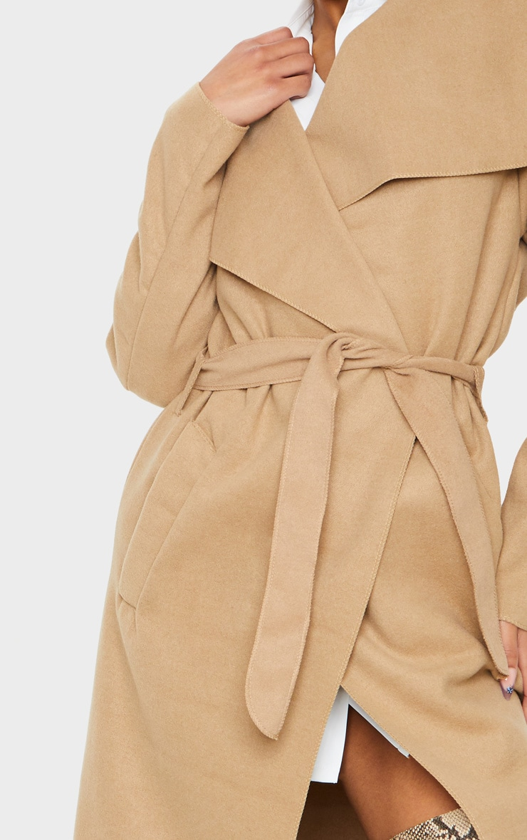 Camel Maxi Length Oversized Waterfall Belted Coat 4