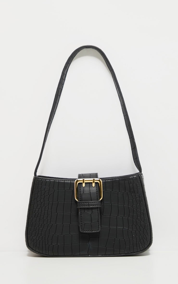 Black Croc Buckle Front Shoulder Bag 2