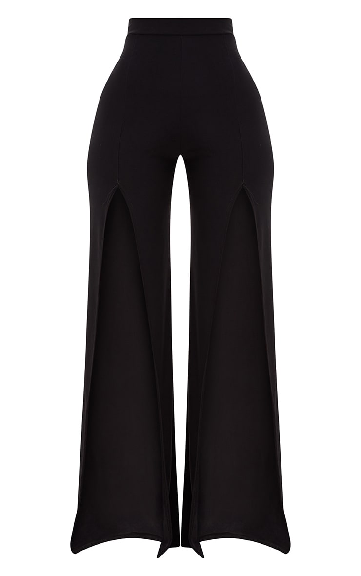 Shape Black Slinky Split Front Wide Leg Trousers 3