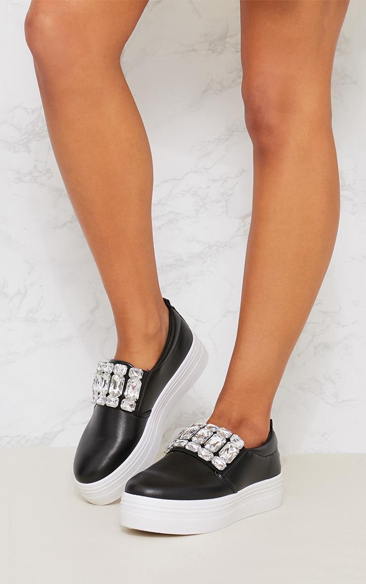 Black Jewel Embellished Flatform Sneakers 2