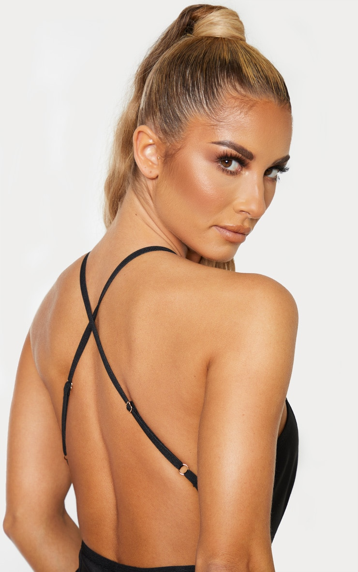 Black Bandage Cross Strap Open Back Frill Hem Midi Dress 5