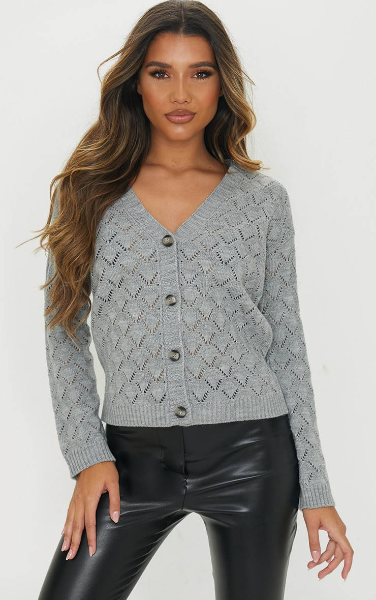 Grey Pointelle Button Up Slouchy Cardigan 1