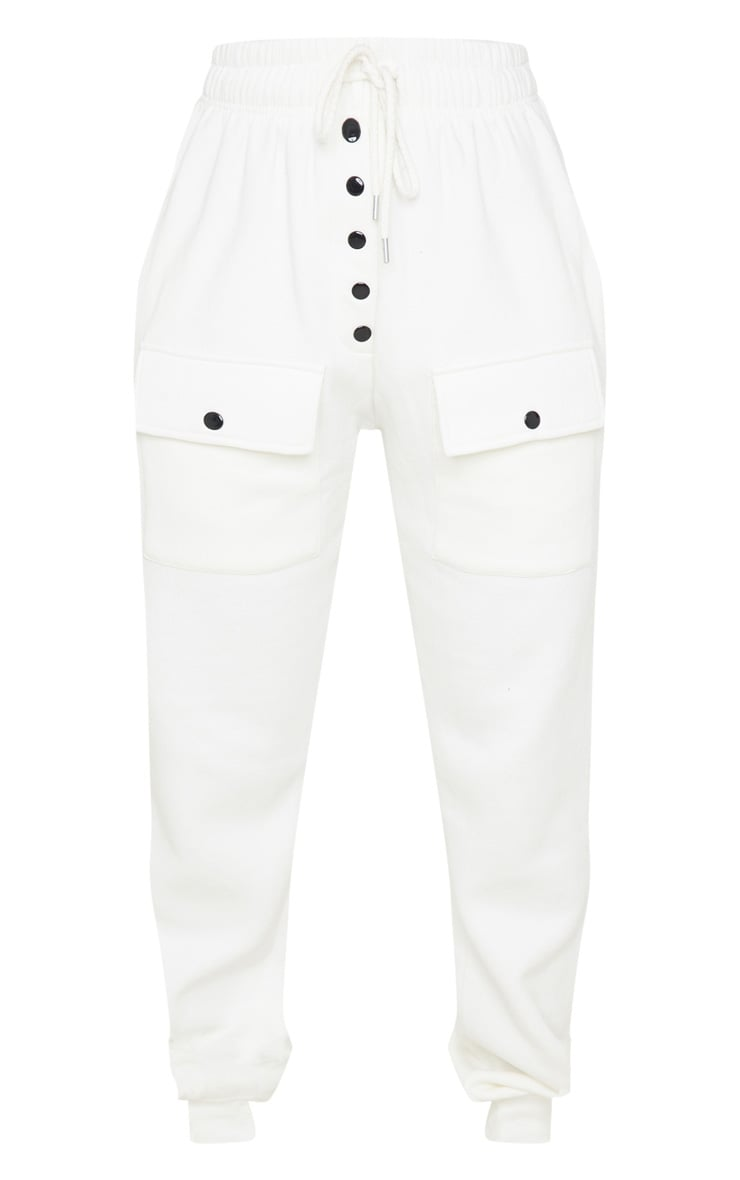 Cream Button Front Pocket Jogger 3