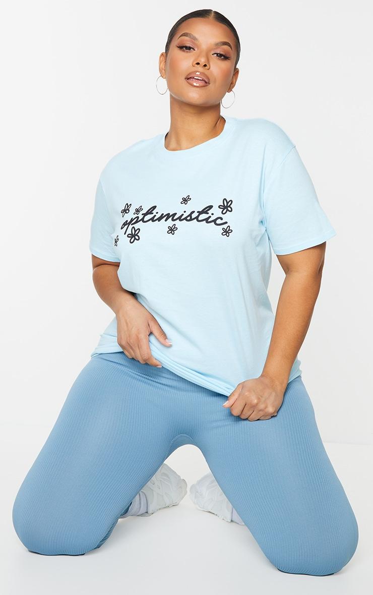 Plus Baby Blue Optimistic T Shirt 3