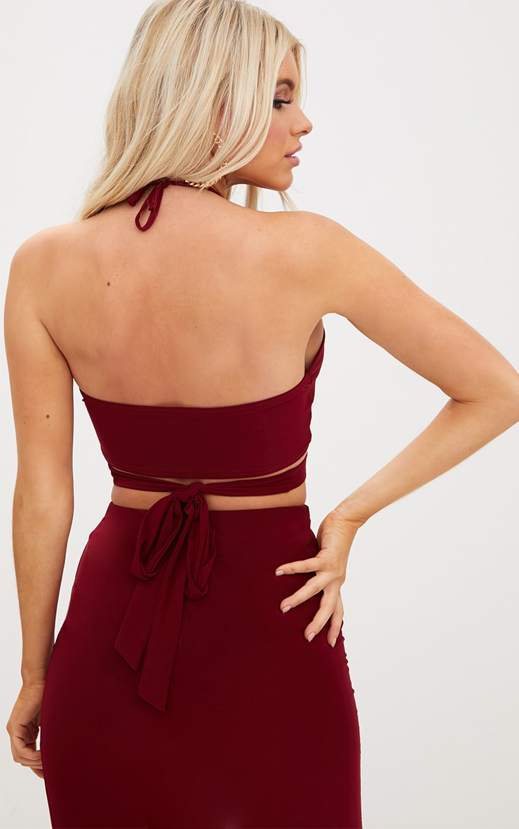 Petite Wine Wrap Keyhole Crop Top 2