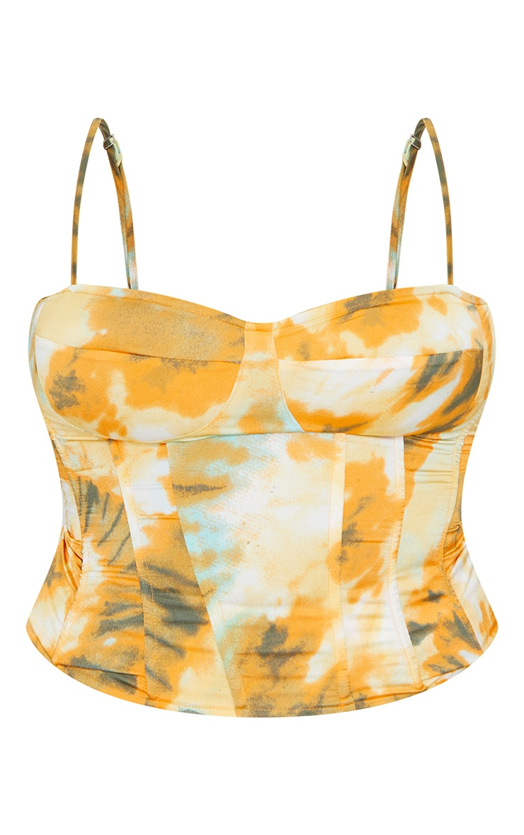 Plus Orange Tie Dye Print Structured Corset Top 5