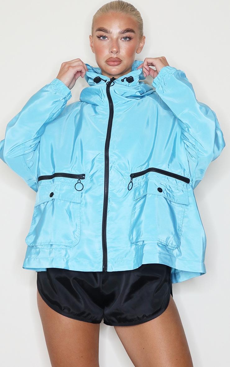 Turquoise Nylon Pocket Front Zip Detail Tracksuit Jacket 3