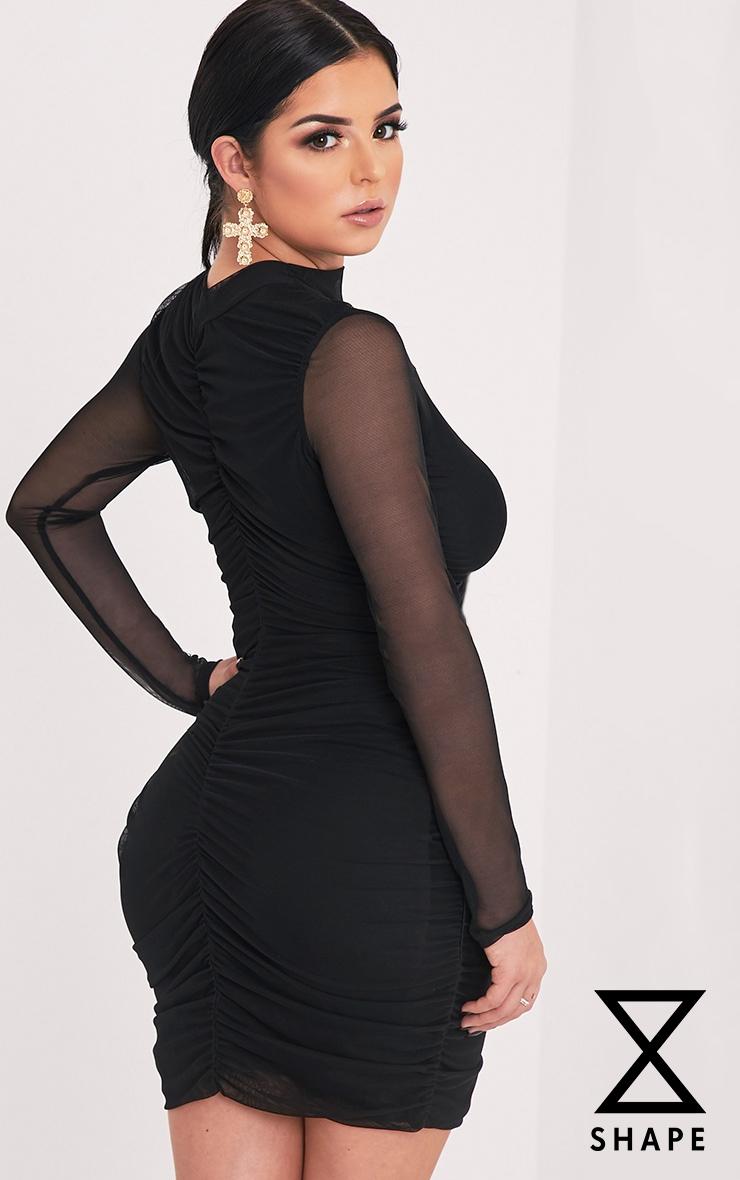 Shape Esemay Black Mesh Ruched Mini Dress 1