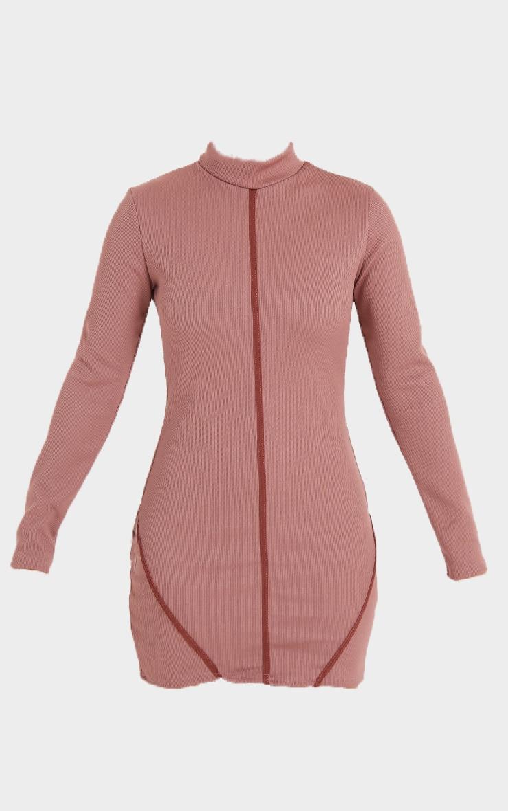 Mauve Structured Rib High Neck Long Sleeve Binding Bodycon Dress 5