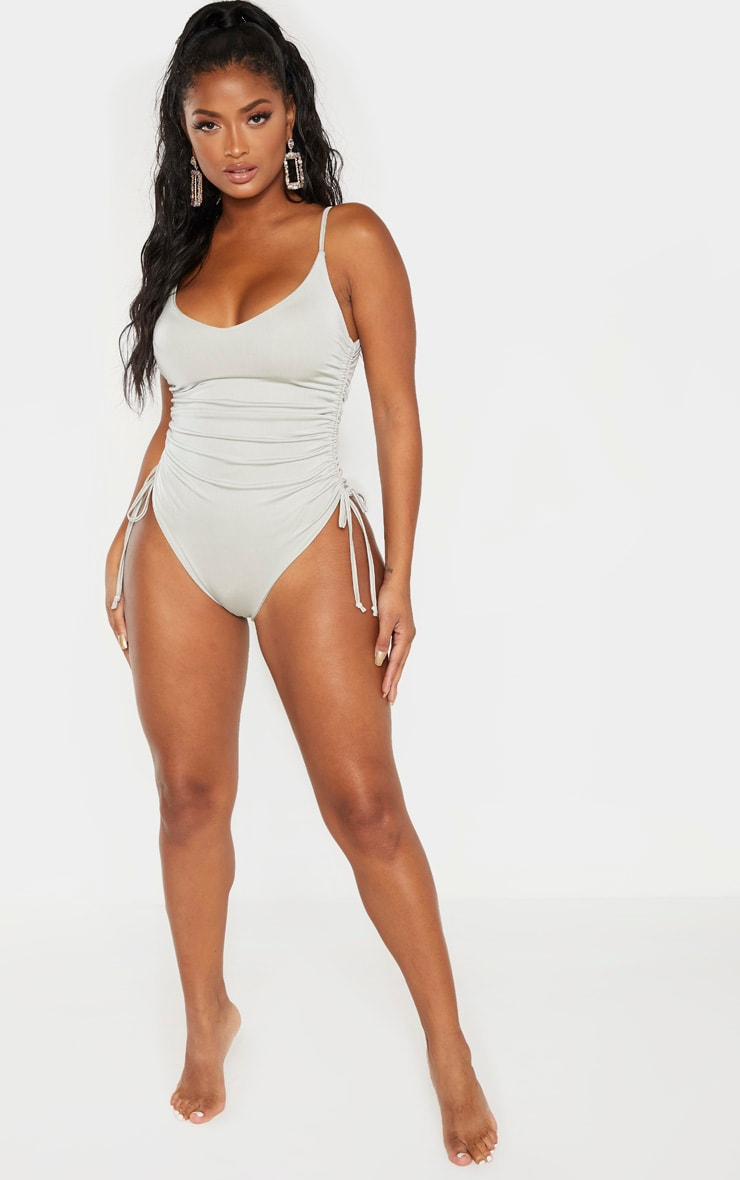Shape Sage Green Ruched Side High Rise Swimsuit 3