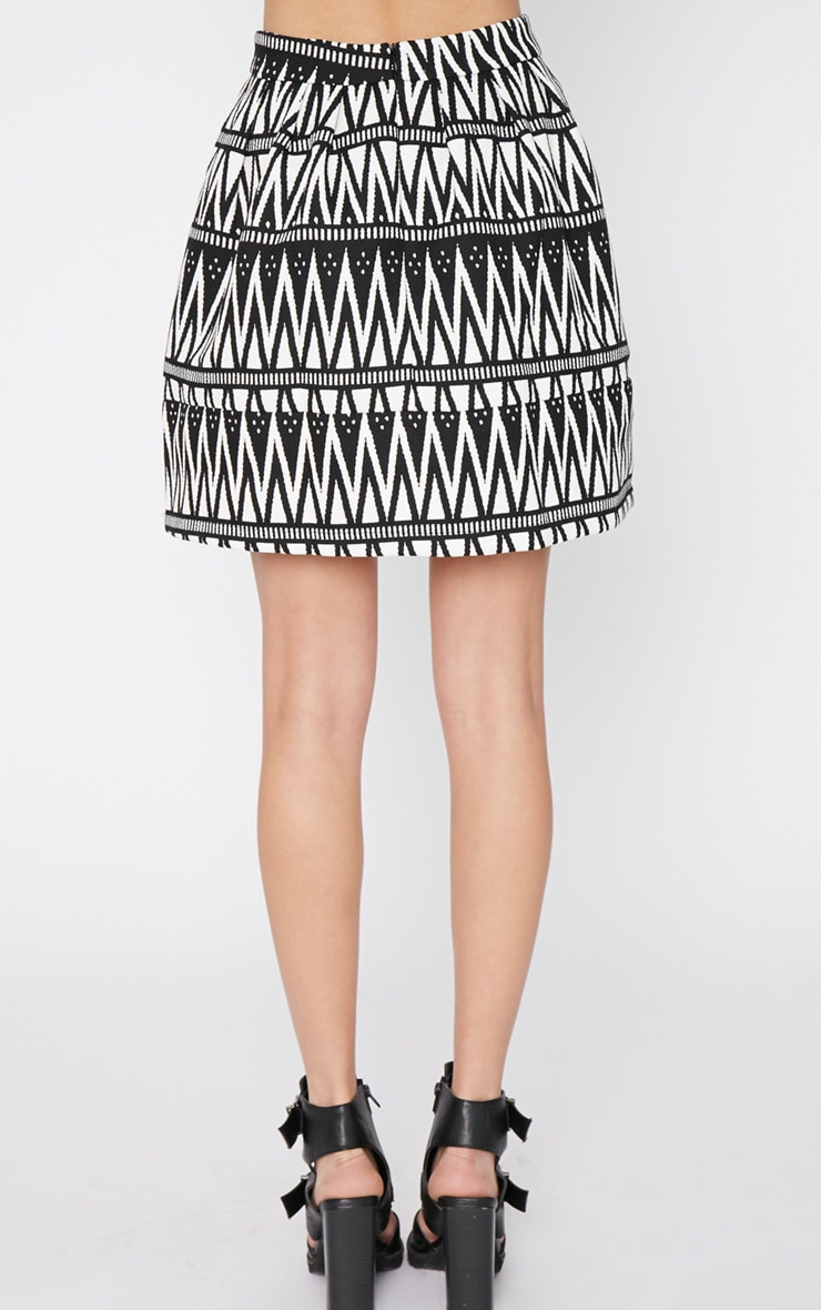 Clemence Monochrome Aztec Swing Skirt 2