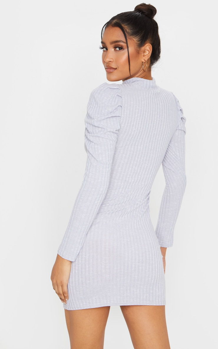 Grey Puff Shoulder Funnel Neck Rib Knitted Dress 2