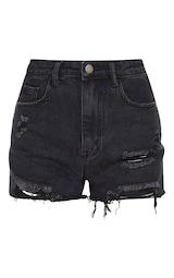 PRETTYLITTLETHING Washed Black Denim Ripped Shorts 1