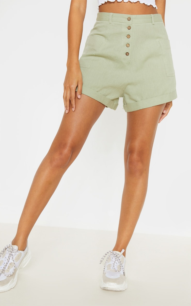 Sage Green Linen Feel Turn Up Hem Tailored Short  2