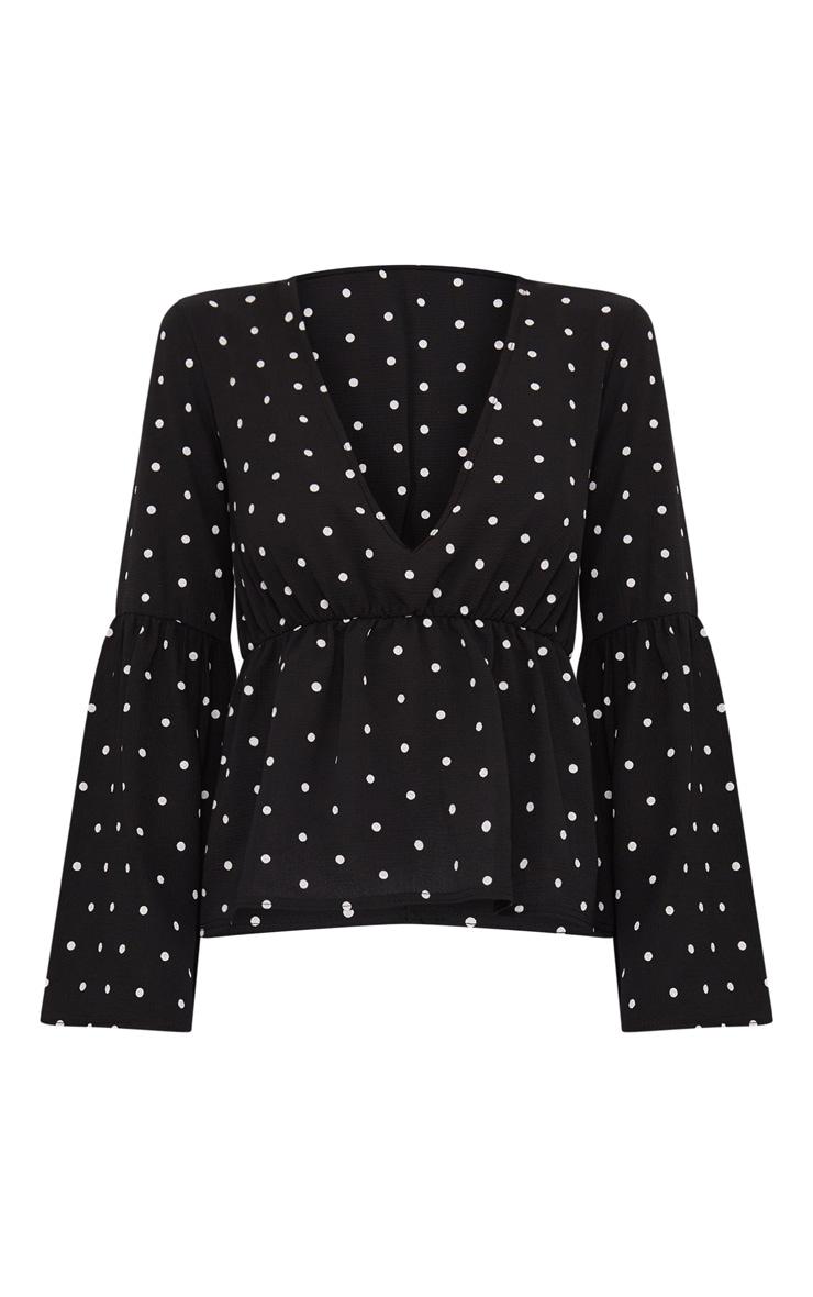 Black Polka Dot Chiffon Flare Sleeve Top 3