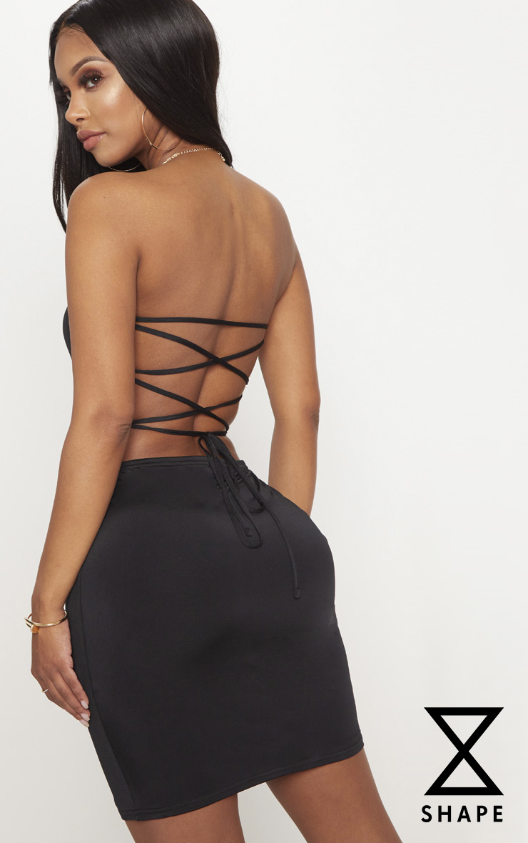 Shape Black Slinky Lace Up Back Bodycon Dress