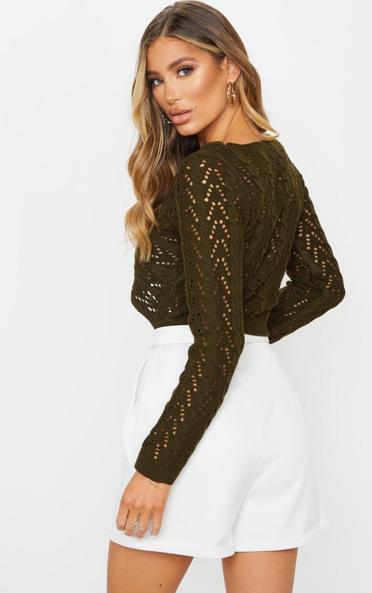 Khaki Twist Front Open Pointelle Sweater 2