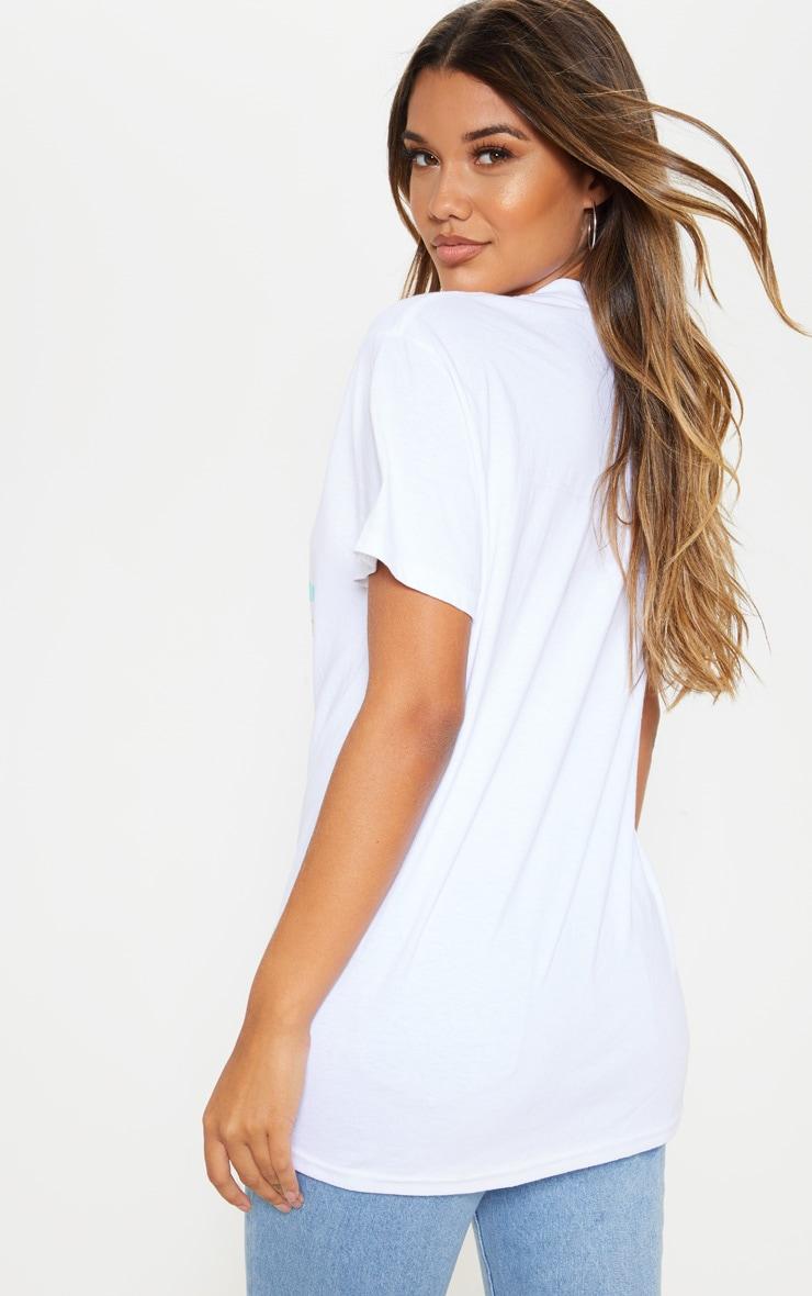 White Nevada Hills Print Oversized T Shirt 2