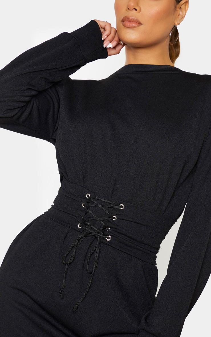 Tall Black Corset Detail Crepe Oversized Jumper Dress 5